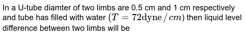 """In a U-tube diamter of two limbs are 0.5 cm and 1 cm respectively and tube has filled with water `(T=72""""dyne""""//cm`) then liquid level difference between two limbs will be"""