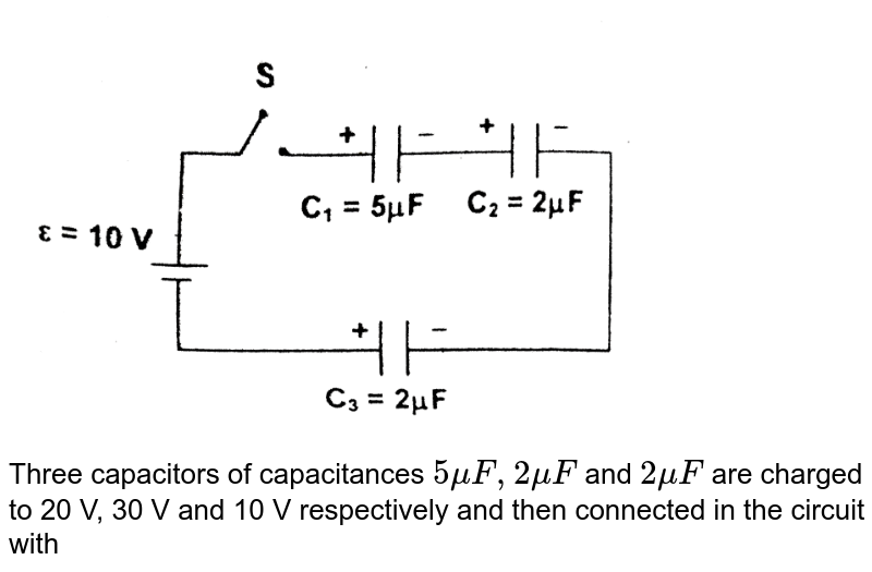 """<img src=""""https://d10lpgp6xz60nq.cloudfront.net/physics_images/FIT_JEE_PT_P2_E01_072_Q01.png"""" width=""""80%""""> <br> Three capacitors of capacitances `5muF,2muF` and `2muF` are charged to 20 V, 30 V and 10 V respectively and then connected in the circuit with polarities as shown. The magnitude of charge flown through the battery after closing the switch S is"""