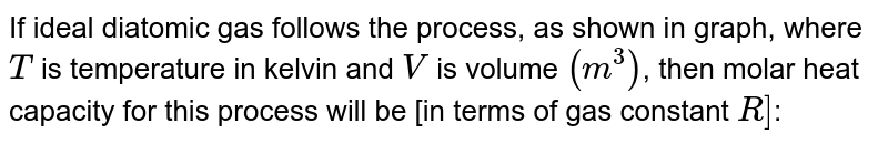 """If ideal diatomic gas follows the process, as shown in graph, where `T` is temperature in kelvin and `V` is volume `(m^(3))`, then molar heat capacity for this process will be [in terms of gas constant `R]`: <br> <img src=""""https://d10lpgp6xz60nq.cloudfront.net/physics_images/RES_HAT_PHY_XI_C01_E01_183_Q01.png"""" width=""""80%"""">"""