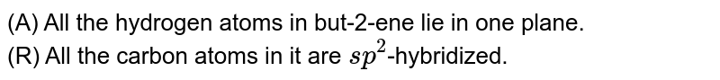 (A) All the hydrogen atoms in but-2-ene lie in one plane. <br> (R) All the carbon atoms in it are `sp^(2)`-hybridized.