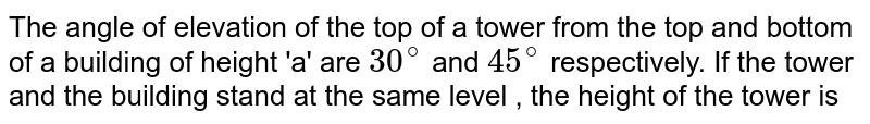 The angle of elevation of the top of a tower from the top and bottom of a building of height 'a' are `30^@` and `45^@` respectively. If the tower and the building stand at the same level , the height of the tower is