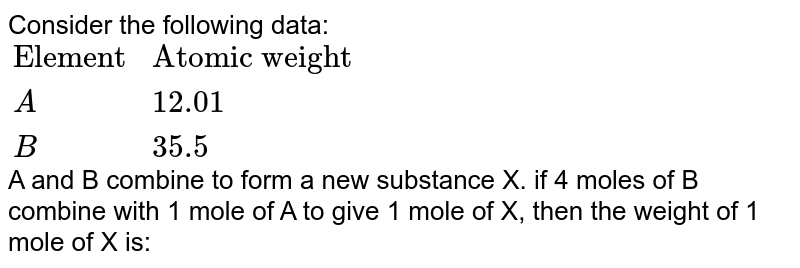 """Consider the following data: <br> `{:(""""Element"""",""""Atomic weight""""),(A,12.01),(B,35.5):}` <br> A and B combine to form a new substance X. if 4 moles of B combine with 1 mole of A to give 1 mole of X, then the weight of 1 mole of X is:"""