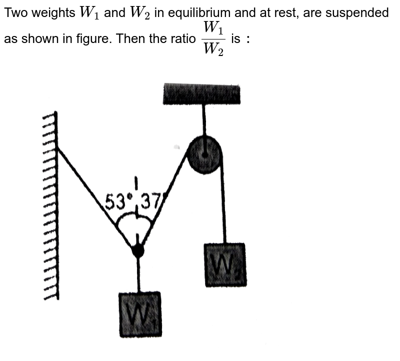 """Two weights `W_(1)` and `W_(2)` in equilibrium  and at rest, are suspended as shown in figure. Then the ratio `(W_(1))/(W_(2))` is `:` <br> <img src=""""https://d10lpgp6xz60nq.cloudfront.net/physics_images/RES_PHY_DPP_22_XI_E01_189_Q01.png"""" width=""""80%"""">"""