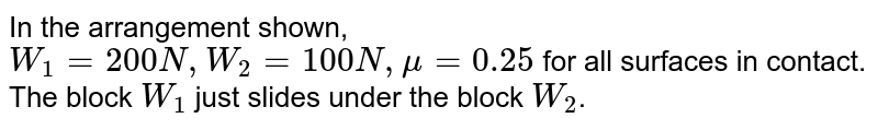 """In the arrangement shown, `W_(1)=200N, W_(2)=100N, mu=0.25` for all surfaces in contact. The block `W_(1)` just slides under the block `W_(2)`. <br> <img src=""""https://d10lpgp6xz60nq.cloudfront.net/physics_images/RES_PHY_DPP_33_XI_E01_276_Q01.png"""" width=""""80%"""">"""