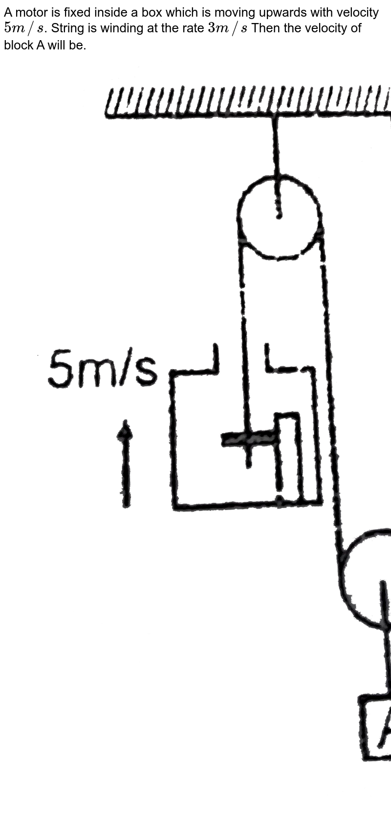 """A motor is fixed inside a box which is moving upwards with velocity `5 m//s`. String is winding at the rate `3 m//s` Then the velocity of block A will be. <br> <img src=""""https://d10lpgp6xz60nq.cloudfront.net/physics_images/RES_DPP_PHY_XII_E01_415_Q01.png"""" width=""""80%"""">"""
