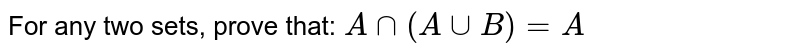 For any two sets, prove that:`\ Ann(AuuB)=A`