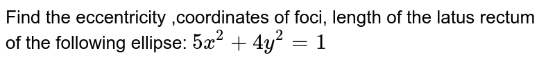 Find the eccentricity ,coordinates of foci, length of the latus rectum of   the following ellipse: `5x^2+4y^2=1`