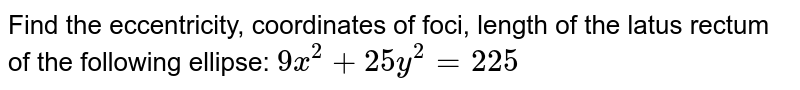Find the eccentricity, coordinates of foci, length of the latus rectum of   the following ellipse: `9x^2+25y^2=225`