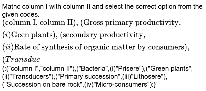 """Mathc column I with column II and select the correct option from the given codes. <br> `{:(""""column I"""",""""column II""""),(""""Gross primary productivity"""",(i)""""Geen plants""""),(""""Secondary productivity"""",(ii)""""Rate of synthesis of organic matter by consumers""""),(""""Transduc`{:(""""column I"""",""""column II""""),(""""Bacteria"""",(i)""""Prisere""""),(""""Green plants"""",(ii)""""Transducers""""),(""""Primary succession"""",(iii)""""Lithosere""""),(""""Succession on bare rock"""",(iv)""""Micro-consumers""""):}`"""