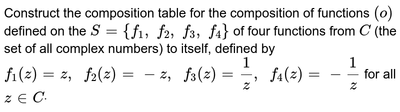 Construct the   composition table for the composition of functions `(o)` defined on the `S={f_1, f_2, f_3, f_4}` of four functions from `C` (the set of all complex   numbers) to itself, defined by `f_1(z)=z ,  f_2(z)=-z ,  f_3(z)=1/z ,  f_4(z)=-1/z` for all `z in  Cdot`