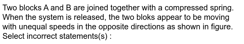"""Two blocks A and B are joined together with a compressed spring. When the system is released, the two bloks appear to be moving with unequal speeds in the opposite directions as shown in figure. <br> Select incorrect statements(s) : <br> <img src=""""https://d10lpgp6xz60nq.cloudfront.net/physics_images/ALN_PHY_C05_S01_054_Q01.png"""" width=""""80%"""">"""