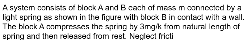 """A system consists of block A and B each of mass m connected by a light spring as shown in the figure with block B in contact with a wall. The block A compresses the spring by 3mg/k from natural length of spring and then released from rest.  Neglect friction anywhere. <img src=""""https://d10lpgp6xz60nq.cloudfront.net/physics_images/DPP_PHY_14_E01_024_Q01.png"""" width=""""80%""""> <br> Velocity of centre of mass of system comprising A and B when block B just loses contact with the wall"""