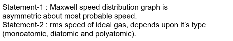 Statement-1 : Maxwell speed distribution graph is <br>  asymmetric about most probable speed.  <br> Statement-2 : rms speed of ideal gas, depends upon it's type <br>  (monoatomic, diatomic and polyatomic).