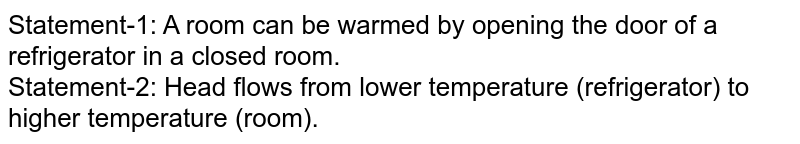 Statement-1: A room can be warmed  by opening the door of a refrigerator in a closed room. <br> Statement-2: Head flows from lower temperature (refrigerator) to higher temperature (room).