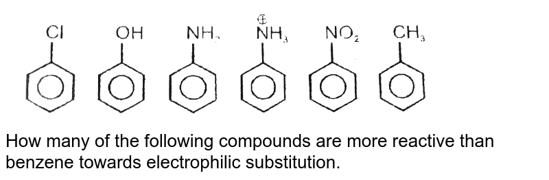 """<img src=""""https://d10lpgp6xz60nq.cloudfront.net/physics_images/RES_P12_16_APPT_P1_E01_108_Q01.png"""" width=""""80%""""> <br> How many of the following compounds are more reactive than benzene towards electrophilic substitution."""