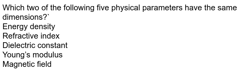 Which two of the following five physical parameters have the same dimensions?` <br> Energy density <br> Refractive index <br> Dielectric constant <br> Young's modulus <br> Magnetic field