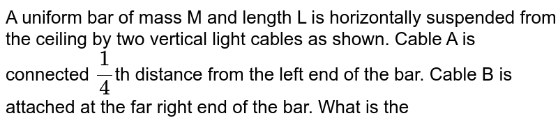 """A uniform bar of mass M and length L is horizontally suspended from the ceiling by two vertical light cables as shown. Cable A is connected `(1)/(4)`th distance from the left end of the bar. Cable B is attached at the far right end of the bar. What is the tension in cable A? <br> <img src=""""https://d10lpgp6xz60nq.cloudfront.net/physics_images/DPP_PHY_CP06_E01_032_Q01.png"""" width=""""80%"""">"""