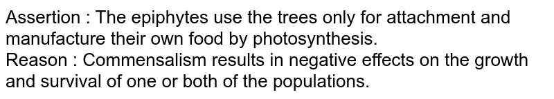 Assertion : The epiphytes use the trees only for attachment and manufacture their own food by photosynthesis.  <br> Reason : Commensalism results in negative effects on the growth and survival of one or both of the populations.