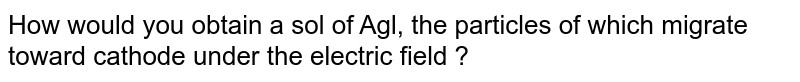 How would you obtain a sol of Agl, the particles of which migrate toward cathode under the electric field ?