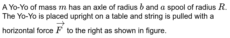 """A Yo-Yo of mass `m` has an axle of radius `b` and `a` spool of radius `R`. The Yo-Yo is placed upright on a table and string is pulled with a horizontal force `vecF` to the right as shown in figure. <br> <img src=""""https://d10lpgp6xz60nq.cloudfront.net/physics_images/FIT_JEE_FT4_P1_E01_391_Q01.png"""" width=""""80%""""> <br> The static friction coefficient between Yo-Yo and table is `mu_(s)`. Now there are two cases. <br> case (a): The string is pulled very gently? <br> case (b): The string is jerked hard?"""