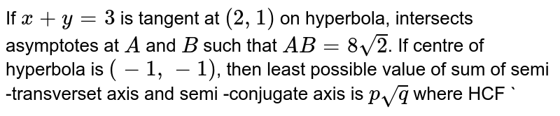 If `x+y=3` is tangent at `(2,1)` on hyperbola, intersects asymptotes at `A` and `B` such that `AB=8sqrt(2)`. If centre of hyperbola is `(-1,-1)`, then least possible value of sum of semi -transverset axis and semi -conjugate axis is `psqrt(q)` where HCF `(p,q)=1` and `sqrt(q)` is irrational number. then, `(p+q)` is equal to
