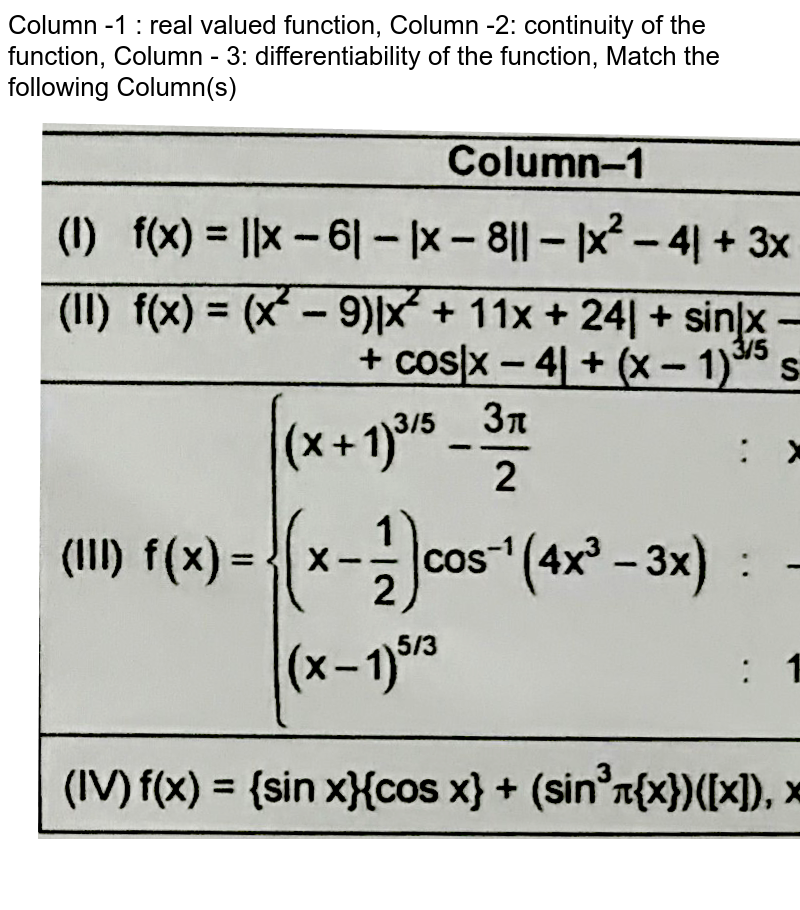 """Column -1 : real valued function, Column -2: continuity of the function, Column - 3: differentiability of the function, Match the following Column(s) <br> <img src=""""https://d10lpgp6xz60nq.cloudfront.net/physics_images/FIT_JEE_PT1_P1_E01_045_Q01.png"""" width=""""80%""""> <br> (Whre [.] denotes the greatest integer function and {.} fractional at function) <br> Which of the following combination combination is correct?"""