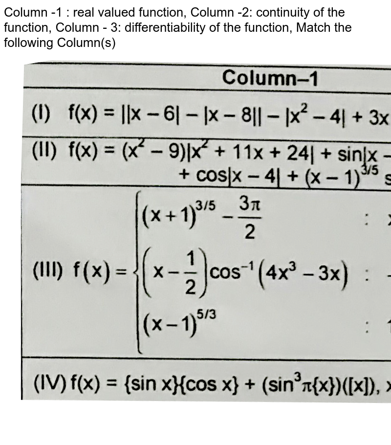 """Column -1 : real valued function, Column -2: continuity of the function, Column - 3: differentiability of the function, Match the following Column(s) <br> <img src=""""https://d10lpgp6xz60nq.cloudfront.net/physics_images/FIT_JEE_PT1_P1_E01_046_Q01.png"""" width=""""80%""""> <br> (Whre [.] denotes the greatest integer function and {.} fractional at function) <br> Which of the following is correct?"""