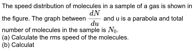 """The speed distribution of molecules in a sample of a gas is shown in the figure. The graph between `(dN)/(du)` and u is a parabola and total number of molecules in the sample is `N_(0)`. <br> (a) Calculate the rms speed of the molecules. <br> (b) Calculate the total translational kinetic energy of molecules if mass of the sample is 10 g.  <br> <img src=""""https://d10lpgp6xz60nq.cloudfront.net/physics_images/IJA_PHY_V02_C03_E01_044_Q01.png"""" width=""""80%"""">"""