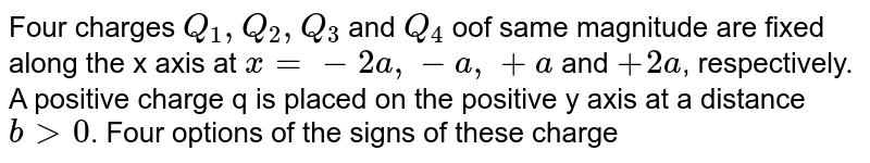 """Four charges `Q_(1), Q_(2), Q_(3)` and `Q_(4)` oof same magnitude are fixed along the x axis at `x=-2a, -a, +a` and `+2a`, respectively. A positive charge q is placed on the positive y axis at a distance `b gt 0`. Four options of the signs of these charges are given in List I. The direction of the forces on the charge q is given in List II. Match List I with List II and select the correct answer using the code given below the lists. <br> <img src=""""https://d10lpgp6xz60nq.cloudfront.net/physics_images/ALN_PHY_C01_E01_430_Q01.png"""" width=""""80%""""> <br> `{:(,""""List-I"""",,,""""List-II""""),((P),Q_(1)"""",""""Q_(2)"""",""""Q_(3)"""",""""Q_(4) """"all positive"""",,(1),+x),((Q),Q_(1)"""",""""Q_(2) """" positive, """"Q_(3)"""",""""Q_(4)"""" negative"""",,(2),-x),((R),Q_(1)"""",""""Q_(4)"""" positive ,""""Q_(2)"""",""""Q_(3)"""" negative"""",,(3),+y),((S),Q_(1)"""",""""Q_(3)"""" positive , """"Q_(2)"""",""""Q_(4)"""" negative"""",,(4),-y):}`"""