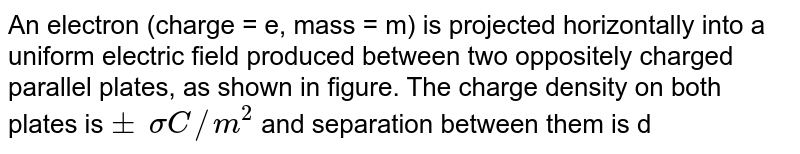 """An electron (charge = e, mass = m) is projected horizontally into a uniform electric field produced between two oppositely charged parallel plates, as shown in figure. The charge density on both plates is `+-?sigma C//m^2` and separation between them is d. You have to assume that only electric force acts on the electron and there is no field outside the plates. Initial velocity of the electron is u, parallel to the plates along the line bisecting the gap between the plates. Length of plates is 2L and there is a screen perpendicular to them at a distance L. (i) Find s if the electron hits the screen at a point that is at same height as the upper plate. <br> (ii) Final the angle q that the velocity of the electron makes with the screen while it strikes it. <br> <img src=""""https://d10lpgp6xz60nq.cloudfront.net/physics_images/IJA_PHY_V02_C06_E01_066_Q01.png"""" width=""""80%"""">"""