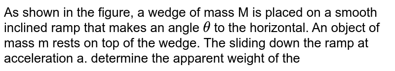 """As shown in the figure, a wedge of mass  M is placed on a smooth inclined ramp that makes an angle `theta` to the horizontal. An object of mass m rests on top of the wedge. The sliding down the ramp at acceleration a. determine the apparent weight of the objects as it slides down. noth that there is friction between the object and the wedge so that the object remains relatively at rest on the wedge. <br> <img src=""""https://d10lpgp6xz60nq.cloudfront.net/physics_images/BSL_XI_RT_P8_E01_331_Q01.png"""" width=""""80%"""">"""