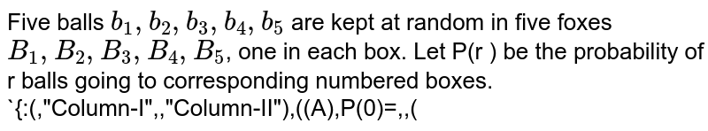 """Five balls `b_(1),b_(2),b_(3),b_(4),b_(5)` are kept at random in five foxes `B_(1),B_(2),B_(3),B_(4),B_(5)`, one in each box. Let P(r ) be the probability of r balls going to corresponding numbered boxes.   <br> `{:(,""""Column-I"""",,""""Column-II""""),((A),P(0)=,,(P)(1)/(12)),((B),P(1)=,,(Q)(3)/(8)),((C),P(2)=,,(R)(1)/(3)),((D),P(3)=,,(S)(11)/(30)),(,,,(T)(1)/(6)):}`"""