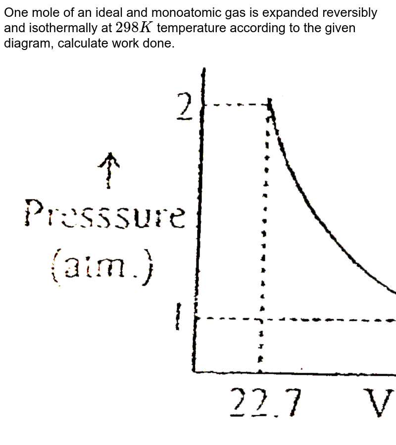 """One mole of an ideal and monoatomic gas is expanded reversibly and isothermally at `298K` temperature according to the given diagram, calculate work done. <br> <img src=""""https://d10lpgp6xz60nq.cloudfront.net/physics_images/ALN_AIIMS_NC_P1_E01_315_Q01.png"""" width=""""80%"""">"""