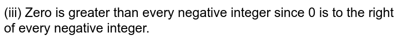 (iii) Zero is greater than every negative integer since 0 is to the right of every negative integer.