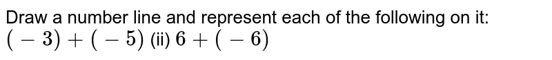 Draw a number line and represent each of the   following on it: `(-3)+(-5)`    (ii) `6+(-6)`