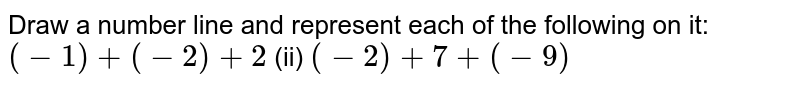 Draw a number line and represent each of the   following on it: `(-1)+(-2)+2`    (ii) `(-2)+7+(-9)`