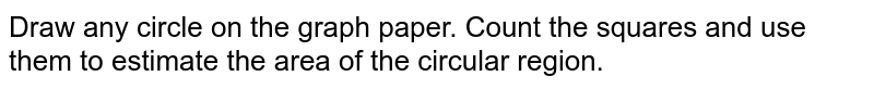 Draw any circle on the graph paper. Count the   squares and use them to estimate the area of the circular region.