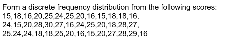 Form a discrete frequency distribution from the   following scores: 15,18,16,20,25,24,25,20,16,15,18,18,16, 24,15,20,28,30,27,16,24,25,20,18,28,27, 25,24,24,18,18,25,20,16,15,20,27,28,29,16