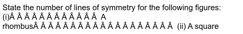 State the number of lines   of symmetry for the following figures: (i)   A rhombus (ii)   A square