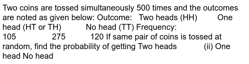 Two coins are tossed simultaneously 500   times and the outcomes are noted as given below: Outcome: Two   heads  (HH) One   head  (HT or TH) No   head  (TT) Frequency: 105 275 120 If same pair of coins is tossed at random,   find the probability of getting  Two heads (ii) One head No head