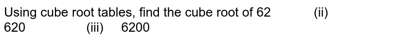 Using cube root tables, find the cube root of  62   (ii) 620 (iii) 6200