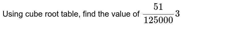 Using cube root table, find the value of `(51)/(125000)3`