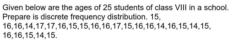 Given below are the ages of 25 students of   class VIII in a school. Prepare is discrete frequency distribution. 15, 16,16,14,17,17,16,15,15,16,16,17,15,16,16,14,16,15,14,15, 16,16,15,14,15.
