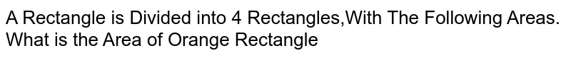 A Rectangle is Divided into 4 Rectangles,With The Following Areas. What is the Area of Orange Rectangle
