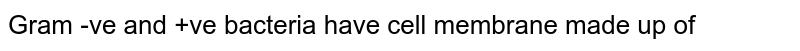 Gram -ve and +ve bacteria have cell membrane made up of