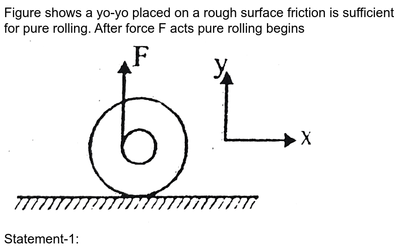"""Figure shows a yo-yo placed on a rough surface friction is sufficient for pure rolling. After force F acts pure rolling begins <br> <img src=""""https://d10lpgp6xz60nq.cloudfront.net/physics_images/BSL_PHY_MPP_E01_352_Q01.png"""" width=""""80%""""> <br> Statement-1: Angular acceleration of yo-yo is in clockwise sense. <br> Statement-2: Torque due to F must be larger than the torque due to friction."""