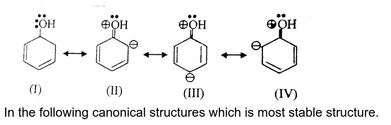 """<img src=""""https://d10lpgp6xz60nq.cloudfront.net/physics_images/BSL_CHM_GOC_E01_134_Q01.png"""" width=""""80%""""> <br> In the following canonical structures which is most stable structure."""