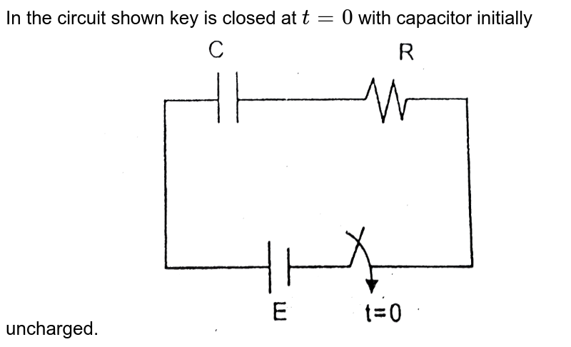 """In the circuit shown key is closed at `t=0` with capacitor initially uncharged. <img src=""""https://d10lpgp6xz60nq.cloudfront.net/physics_images/RES_P16_16_ACT_2_E01_067_Q01.png"""" width=""""80%"""">"""