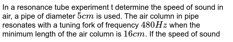 In a resonance tube experiment t determine the speed of sound in air, a pipe of diameter `5 cm` is used. The air column in pipe resonates with a tuning fork of frequency `480 Hz` when the minimum length of the air column is `16 cm`. If the speed of sound in air at room temperature `= 6eta` (in `m//sec`). Find `eta`
