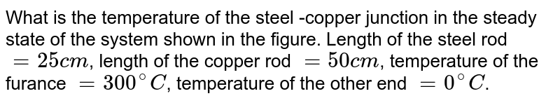 """What is the temperature of the steel -copper junction in the steady state of the system shown in the figure. Length of the steel rod `=25cm`, length of the copper rod `=50cm`, temperature of the furance `=300^(@)C`, temperature of the other end `=0^(@)C`. The area of cross section of the steel rod is twice that of the copper rod. (Thermal conductivity of steel `=50Js^(-1)m^(-1)K^(-1)` and of copper `=400 J s^(-1)m^(-1)K^(-1)`) <br> <img src=""""https://d10lpgp6xz60nq.cloudfront.net/physics_images/BSL_PHY_HT_S01_006_Q01.png"""" width=""""80%"""">"""